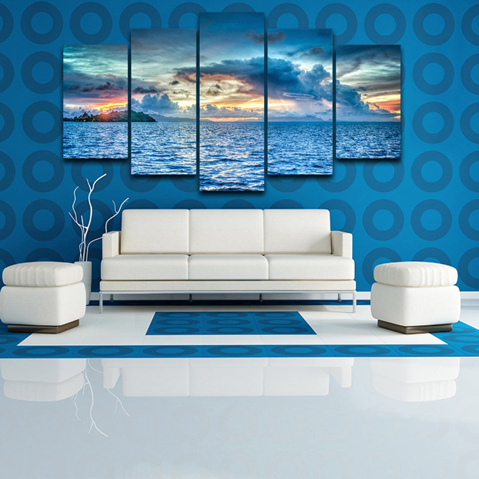 Bora Bora Polynesia 5 Piece HD Multi Panel Canvas Wall Art Frame