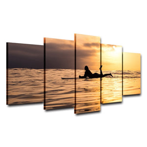 Woman Lying In The Sunset 5 Piece HD Multi Panel Canvas Wall Art Frame