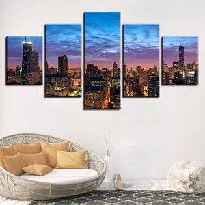 Chicago City Night View 5 Piece HD Multi Panel Canvas Wall Art Frame