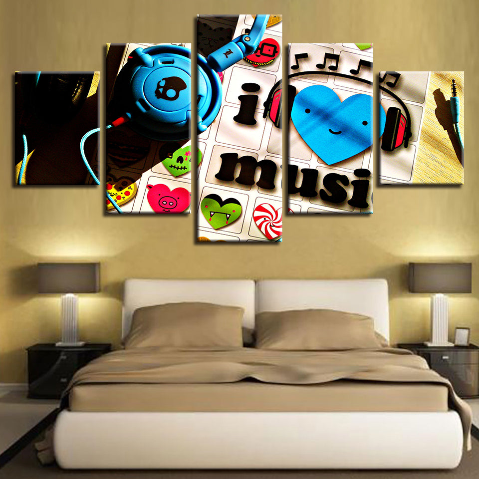 Music Love 5 Piece HD Multi Panel Canvas Wall Art Frame