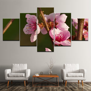 Pink Flowers Branch 5 Piece HD Multi Panel Canvas Wall Art Frame