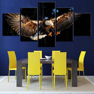 Eagle in Flight 5 Piece HD Multi Panel Canvas Wall Art Frame