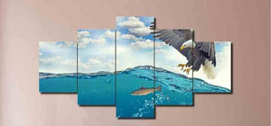 Eagle Hunting 5 Piece HD Multi Panel Canvas Wall Art Frame