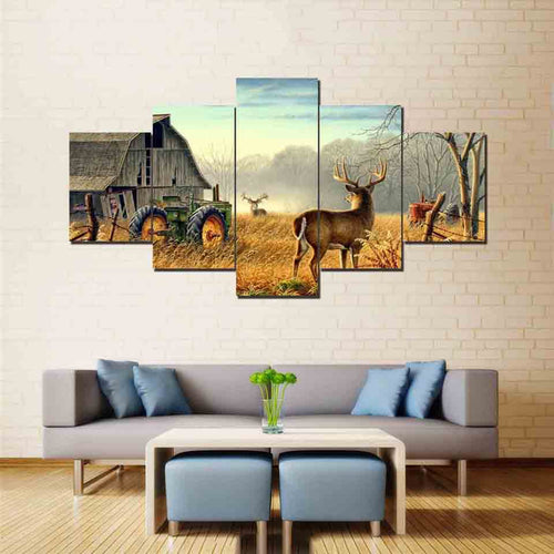 Deer on the Farm 5 Piece HD Multi Panel Canvas Wall Art Frame