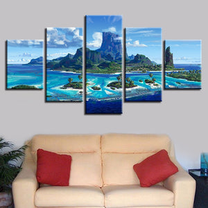 Blue Ocean Islands 5 Piece HD Multi Panel Canvas Wall Art Frame