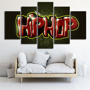 Hip Hop Music Symbols 5 Piece HD Multi Panel Canvas Wall Art Frame