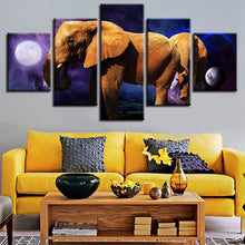 Planet Animals Elephants Night 5 Piece HD Multi Panel Canvas Wall Art Frame
