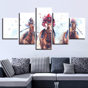 Horse Riding Competition 5 Piece HD Multi Panel Canvas Wall Art Frame