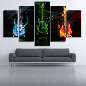 Fire Water Earth Guitars 5 Piece HD Multi Panel Canvas Wall Art Frame