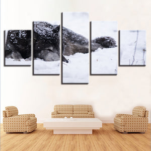 Wolf in the Snow 5 Piece HD Multi Panel Canvas Wall Art Frame