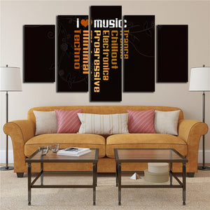 I Love Music 5 Piece HD Multi Panel Canvas Wall Art Frame