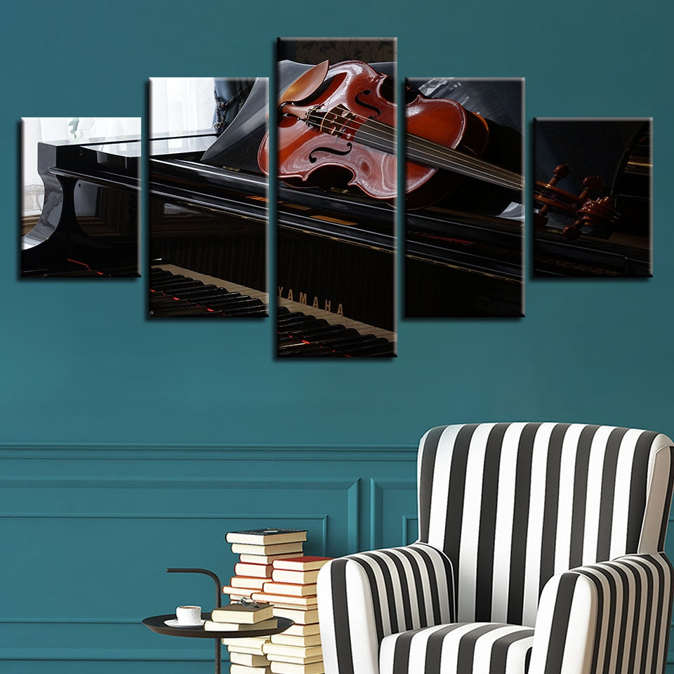 Piano & Violin 5 Piece HD Multi Panel Canvas Wall Art Frame