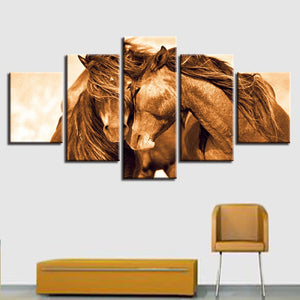 Red Horse Couple 5 Piece HD Multi Panel Canvas Wall Art Frame