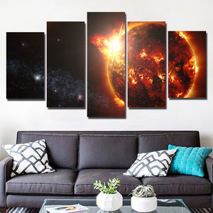Fireball Planet 5 Piece HD Multi Panel Canvas Wall Art Frame