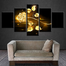 Golden Rose 5 Piece HD Multi Panel Canvas Wall Art Frame