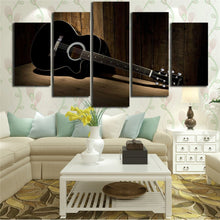 Black Guitar 5 Piece HD Multi Panel Canvas Wall Art Frame