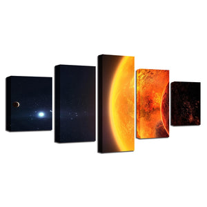 Sun Earth Planet Space 5 Piece HD Multi Panel Canvas Wall Art Frame