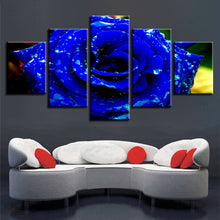 Pretty Blue Rose Flower 5 Piece HD Multi Panel Canvas Wall Art Frame