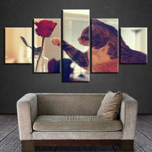 Cat And Red Rose 5 Piece HD Multi Panel Canvas Wall Art Frame