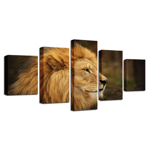 Proud Lion 5 Piece HD Multi Panel Canvas Wall Art Frame