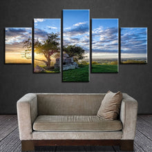 Sunrise Tree 5 Piece HD Multi Panel Canvas Wall Art Frame