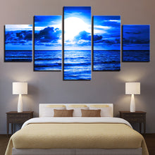 Blue Moonlit Night Paintings 5 Piece HD Multi Panel Canvas Wall Art Frame