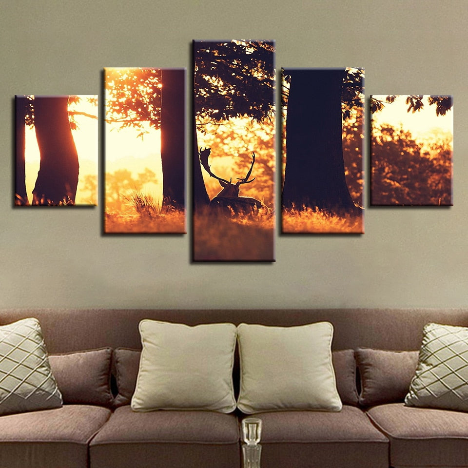 Deer in Summer Forest 5 Piece HD Multi Panel Canvas Wall Art Frame