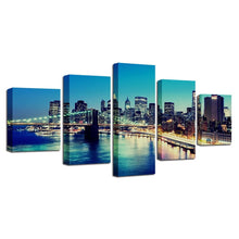 City at Dusk 5 Piece HD Multi Panel Canvas Wall Art Frame
