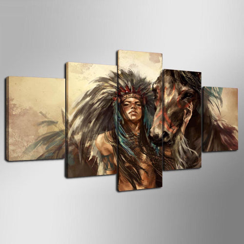 American Indian Girl 5 Piece HD Multi Panel Canvas Wall Art Frame