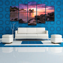Tropical Beach Sunset 5 Piece HD Multi Panel Canvas Wall Art Frame