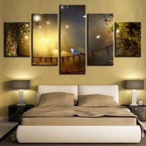 Bird in Moonlight 5 Piece HD Multi Panel Canvas Wall Art Frame