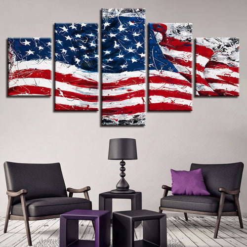 American Flag Abstract 5 Piece HD Multi Panel Canvas Wall Art Frame