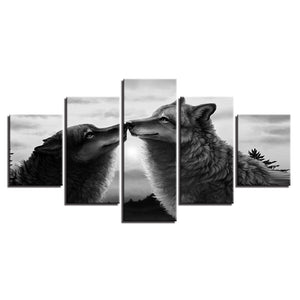 Black Wolves Kiss 5 Piece HD Multi Panel Canvas Wall Art Frame