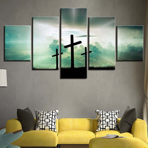 The Light Cross 5 Piece HD Multi Panel Canvas Wall Art Frame