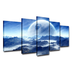 Moon Planet Space Mountains 5 Piece HD Multi Panel Canvas Wall Art Frame