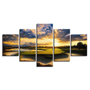 Golf Course Scenery 5 Piece HD Multi Panel Canvas Wall Art Frame