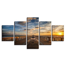 Seaside Bridge 5 Piece HD Multi Panel Canvas Wall Art Frame