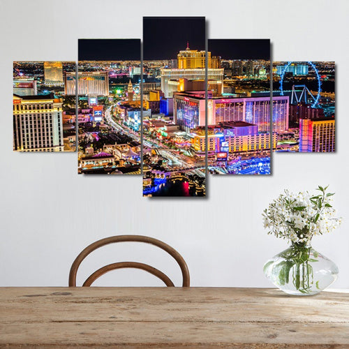 Ferris Wheel Citylights 5 Piece HD Multi Panel Canvas Wall Art Frame
