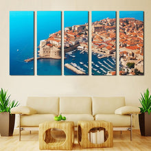 Seaside Building Port 5 Piece HD Multi Panel Canvas Wall Art Frame