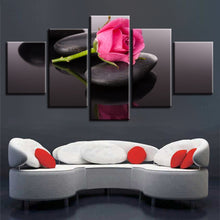 Pink Rose 5 Piece HD Multi Panel Canvas Wall Art Frame