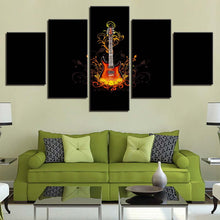 Guitar On Fire 5 Piece HD Multi Panel Canvas Wall Art Frame