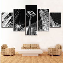 Big Ben B&W 5 Piece HD Multi Panel Canvas Wall Art Frame
