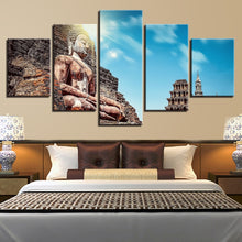 Giant Buddha In The Mountain 5 Piece HD Multi Panel Canvas Wall Art Frame