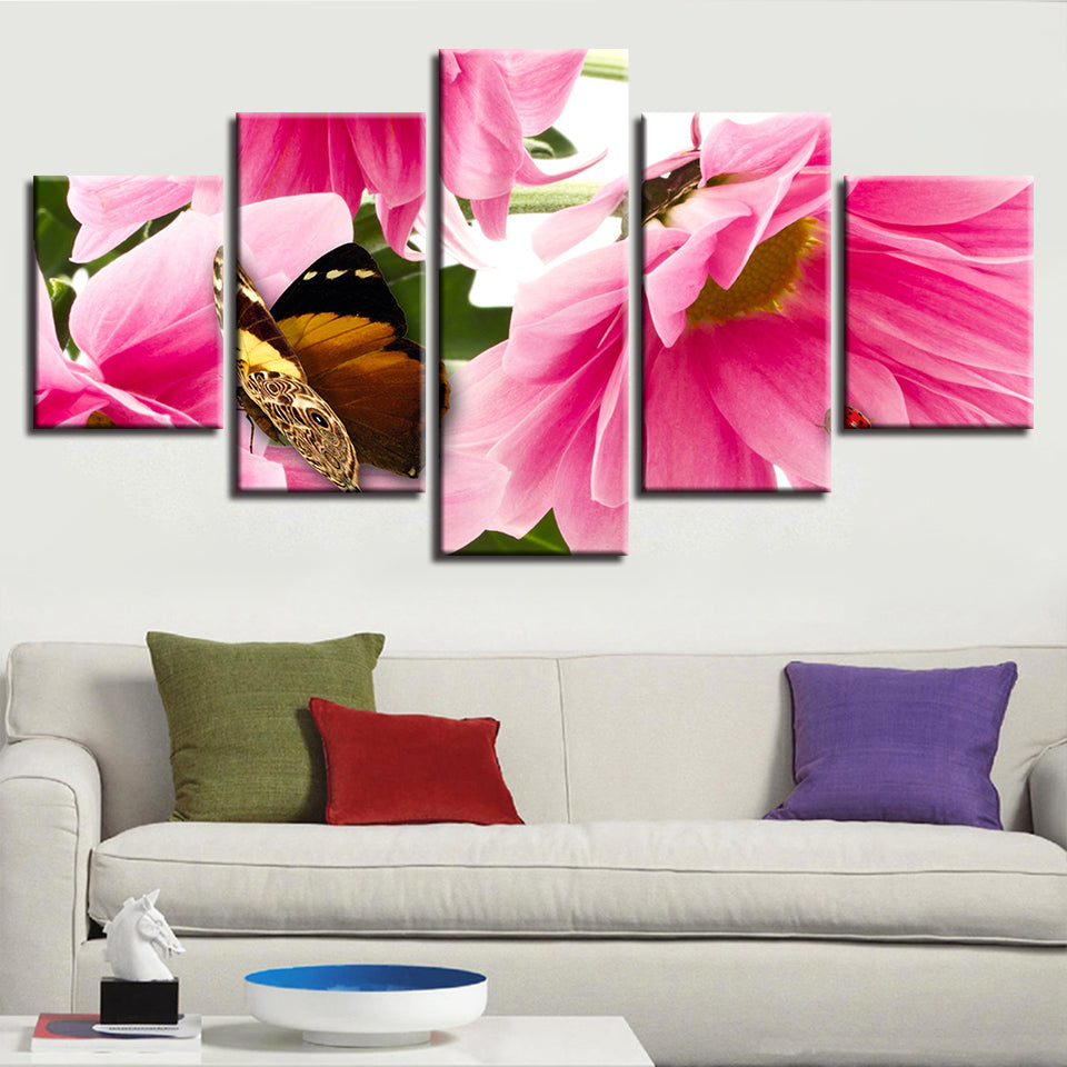Pink Flowers & The Butterfly 5 Piece HD Multi Panel Canvas Wall Art Frame