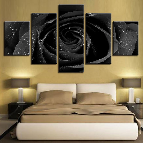 Black Rose 5 Piece HD Multi Panel Canvas Wall Art Frame