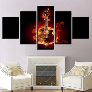 Fire Guitar 5 Piece HD Multi Panel Canvas Wall Art Frame
