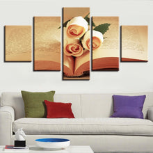 Champagne Roses And Book 5 Piece HD Multi Panel Canvas Wall Art Frame