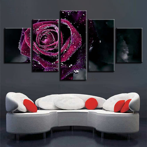 Purple Rose 5 Piece HD Multi Panel Canvas Wall Art Frame
