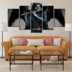 Wings & Skull Playing Flute 5 Piece HD Multi Panel Canvas Wall Art Frame