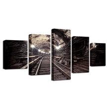 Discarded Subway Tunnel 5 Piece HD Multi Panel Canvas Wall Art Frame